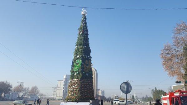 Новогодняя ёлка в Душанбе наконец-то засверкала